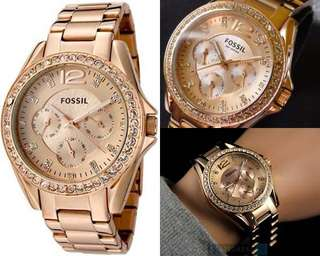 BEST DEAL - Fossil Riley Multifunction Rose-Tone Stainless Steel Watch