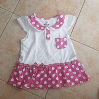 Baby Polka Dots Dress 6m can for from 3-12m and use as top for toddlers