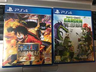 PS4 GAMES FOR TRADE OR FOR SALE ONE PIECE AND PLANTS VS ZOMBIES