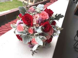 Bridal Bouquet in Red Roses with Pink Roses Baby Breath Dusty Miller / Wedding Flower Package