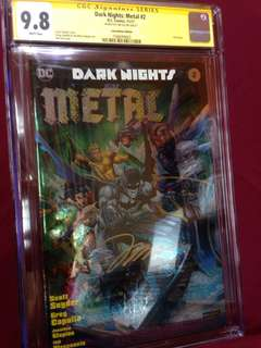 Dark nights METAL#2 foil cover limited signed Jim Lee CGC SS 9.8