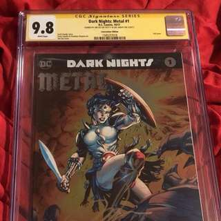 GAL GADOT SIGNED CGC SS 9.8~Dark Nights METAL #1~Wonder Woman Foil~SIGNED GAL GADOT+JIM LEE