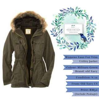 Items For Sale: Womens Faux Fur Trim Utility Jacket