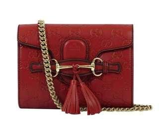 Brand New! Gucci Mini Guccissima Dark Red Leather Shoulder Handbag