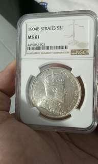 1904 Straits $1 #MS61分# 老王大银币 稀少!
