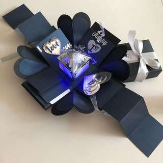 Explosion box with lighthouse , 4 waterfall and 2 pull in black , skimmer navy and silver
