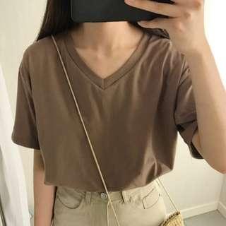 Brown V-neck Cotton Casual Top