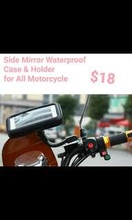Motorcycle Side Mirror Waterproof Phone/GPS Case & Holder (Top Quality!)