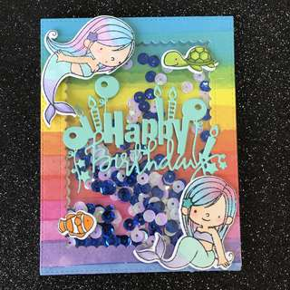 Mermaid birthday shaker card