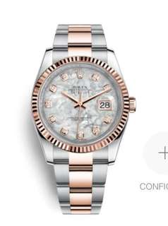 Rolex 31mm datejust white MOP rose gold oyster strap with diamonds