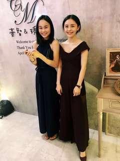 韓製連身酒紅色寬褲 婚禮小禮服