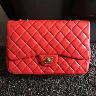 ❤️❤️Very Good Deal!❤️❤️ Chanel Jumbo SF in Coral Red Lambskin Matte GHW