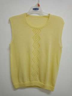 Knitted Sleeveless Yellow Blouse
