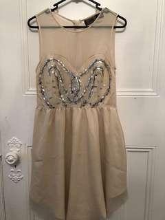 Nude Formal Dress - Knee Length