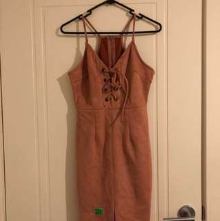 Pink lace Up Split Front Dress