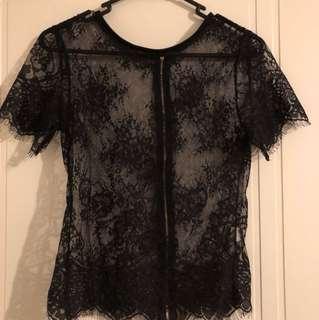 Sheer Black Lace Crop