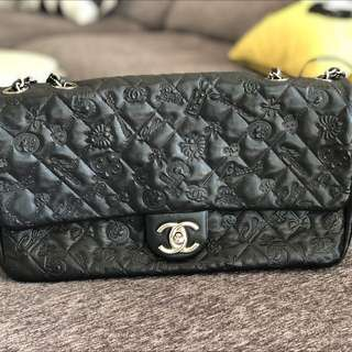 CHANEL Black Leather Embossed Lucky Symbols Medium Flap Bag