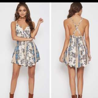 White Floral Backless Dress