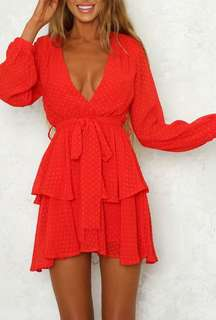 Red V Neck Long Sleeve Dress