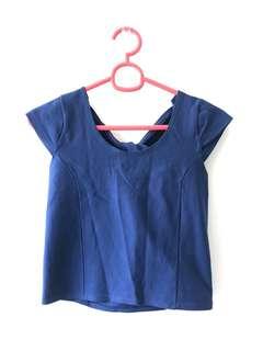 Blue Back Tied Crop Top