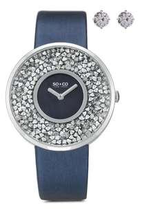 New!全新閃石手錶 及水晶耳環套裝SO& CO品牌 (原價$3069)