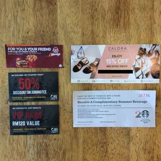 Voucher Combo of Starbucks, Wendys, Zalora & Chi-Fitness
