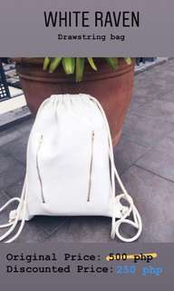 White Leather Drawstring