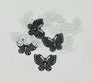 12pcs Black & White  Filigree Butterfly Embellishment