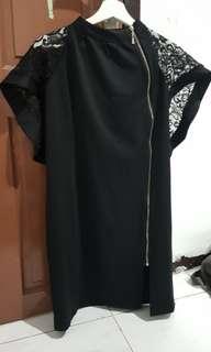 Zipper Black Dress a Like New