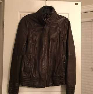 Mackage brown leather jacket size - medium