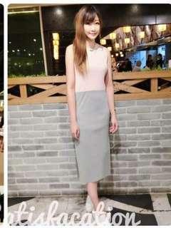 🚚 全新現貨代購💲 490今天訂明天出❤️    #韓妞最愛高品質正韓草莓牛奶撞色氣質長洋裝