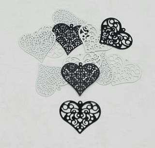 12pcs Black & White Filigree Heart Embellishment