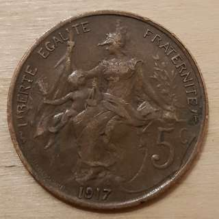 1917 Republic of France 5 Centime Coin