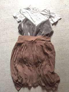 Velvet top with Inner and Nude pleated skirt