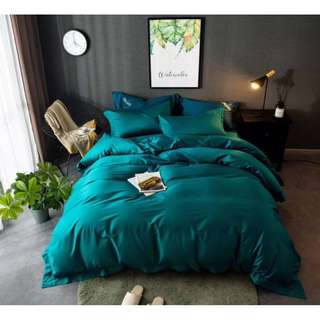 King size Quilt Cover Fitted Sheet Pillowcases Rhine Green