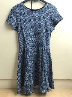 Topshop Blue Patterned Dress