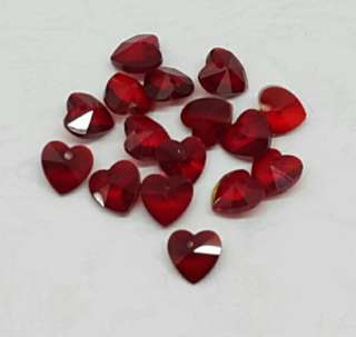 16pcs Faceted Red Heart Glass Charm