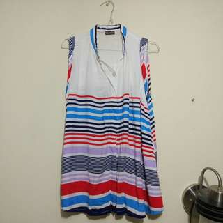 Blue Red Stripes Top Shirt