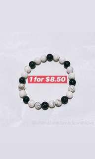 Black Turquoise mix with White Howlite beads bracelet