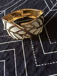 Gold And Silver Cuff Leaf Bracelet
