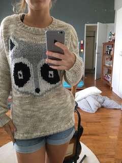 Berksha sweater with raccoon face