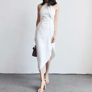White Halter Asymmetrical Dress