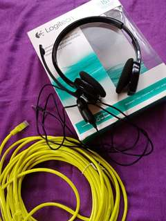 Logitech h151 stereo headset free 15 meters LAN cable