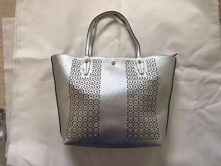 VALEROUX silver gladiator tote bag