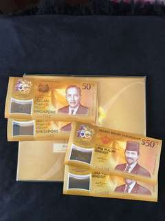 Cia Singapore & Brunei Commemorative $50 With 2 Run & Folder