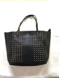 VALEROUX black gladiator tote bag