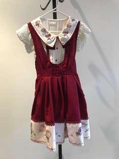 Japan Liz Lisa Burgundy vintage flower blouse & tie back dress set