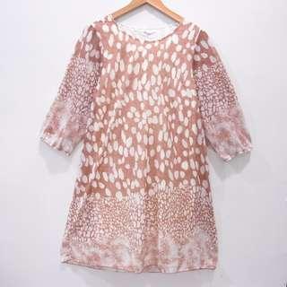 AU729 SIZE L DRESS TUNIK FURING BRANDED LEMBUT CHOCO ATASAN IMPORT