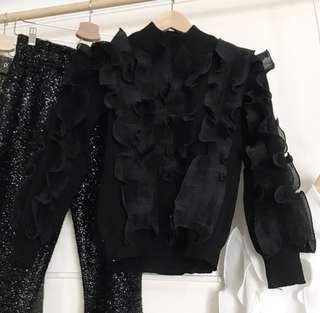 Knitted Black Ruffle Top