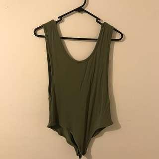 Khaki backless bodysuit